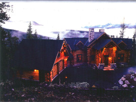 Night View - True Log Home